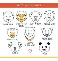 Set 9 muzzles bears handmade in linear style bear vector