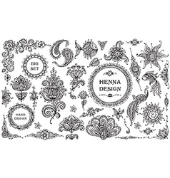 Set of henna floral and animal elements vector