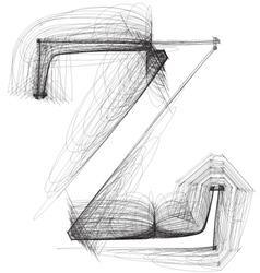 Sketch font Letter z vector image vector image