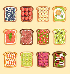 Slices of sandwich bread and butter toast with vector