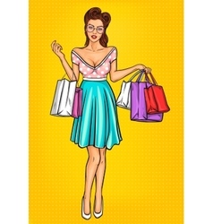 smiling girl-shopper vector image vector image