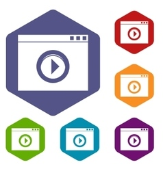 Video player icons set vector