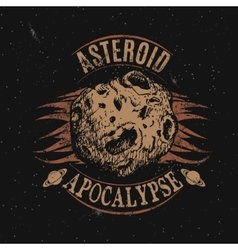 Vintage label with asteroid vector