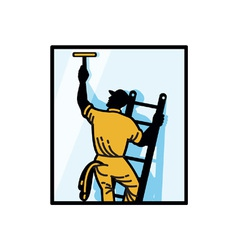 Window cleaner worker vector