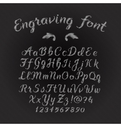 Engraving font vector
