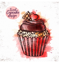 Watercolor sweet cupcake vector