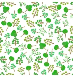 Green Trees Silhouettes Seamless Pattern vector image