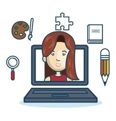 Laptop woman education online concept design vector