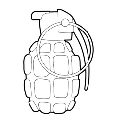 Hand grenade icon outline style vector