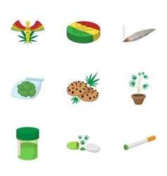 Drug icons set cartoon style vector