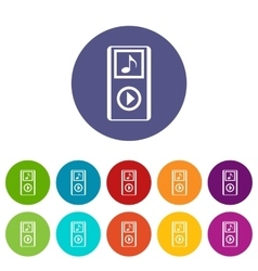 Mini mp3 portable player set icons vector
