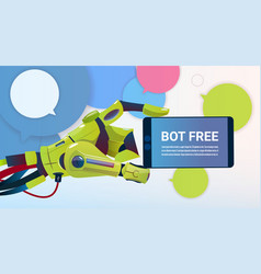 Chat bot hands using cell smart phone robot vector