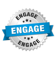 Engage round isolated silver badge vector