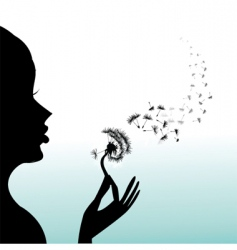 Girl blow dandelion vector