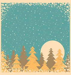 Snow winter card on old poster vector image