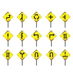 Road sign set warning vector image
