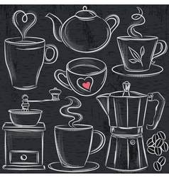 Set cup of hot drink on blackboard vector