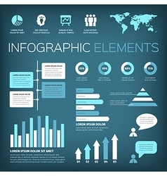 Aquamarine colour infographic elements vector