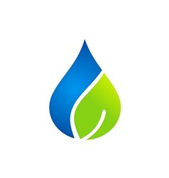 Clean water and leaf nature logo vector