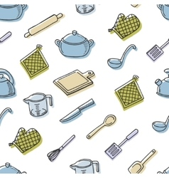Cook tools color seamless pattern vector