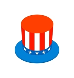 Hat in the USA flag colors isometric 3d icon vector image