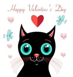 Graphics funny love with a kitten vector