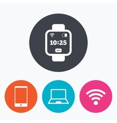 Notebook and smartphone icon smart watch symbol vector