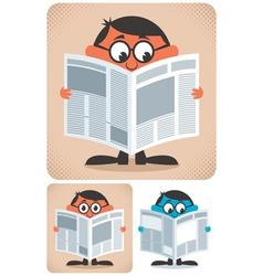 Reading newspaper vector