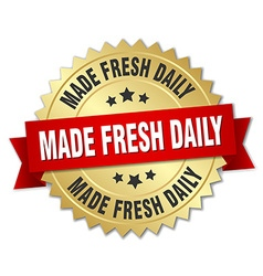 Made fresh daily 3d gold badge with red ribbon vector