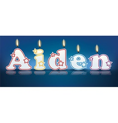 Aiden written with burning candles vector