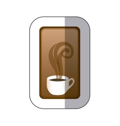 Brown long squard symbol of coffee cup vector