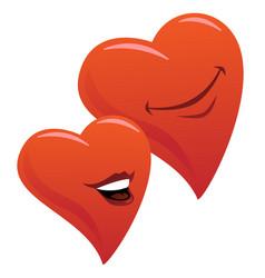 Cute smiling romantic hearts couple cartoon vector