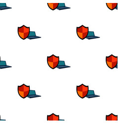 Data security of laptop icon in cartoon style vector