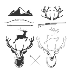 Deer head elements constructor for vintage vector image