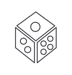 dicegame cube line icon sign vector image