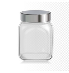 empty transparent glass jar with metal cap vector image