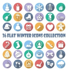 Flat winter circle icon collection vector