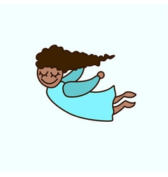 Flying cartoon african american girl vector