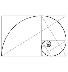 Golden ratio spiral symbol vector