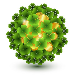 Green clover leaves and gold coins ball vector