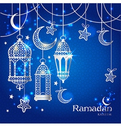 Greeting card ramadan kareem design vector