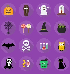 Halloween flat icon set vector