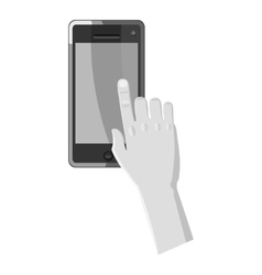 Hand works on phone icon gray monochrome style vector