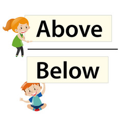 Kids holding wordcards above and below vector