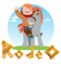 Man on a horse cowboy rodeo wild west vector