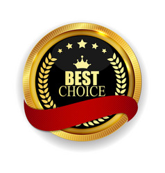 premium quality best choice golden medal icon seal vector image vector image