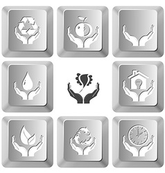 protection nature apple in hands human hands vector image vector image