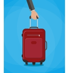 Red travel bag with hand vector