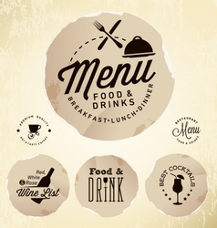 Restaurant menu design elements in vintage style vector