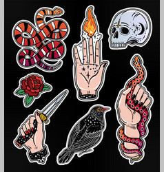 Set of occult witchcraft classic flash patches vector